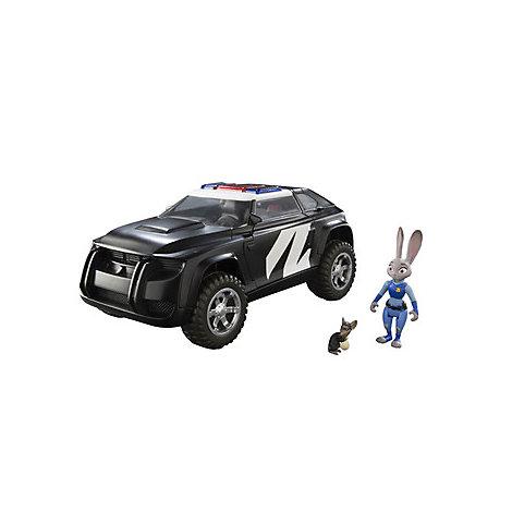 Coche policía de Judy, versión lujo, con muñecos de Judy Hopps y ratón delincuente, de Zootrópolis