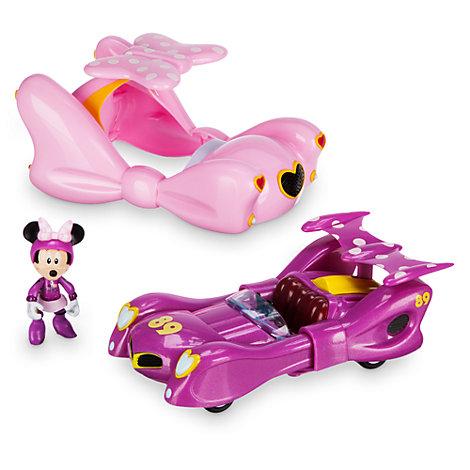 Transformerende Minnie Mouse-racerbil med træk tilbage-funktion