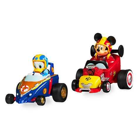 Coches de carreras miniatura con movimiento por retroceso, Mickey y Donald