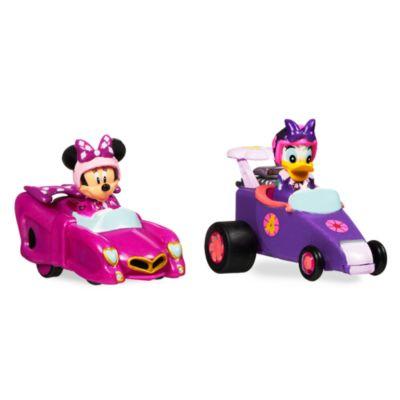 Minnie et Daisy pilotes de course et leurs voitures miniatures à friction