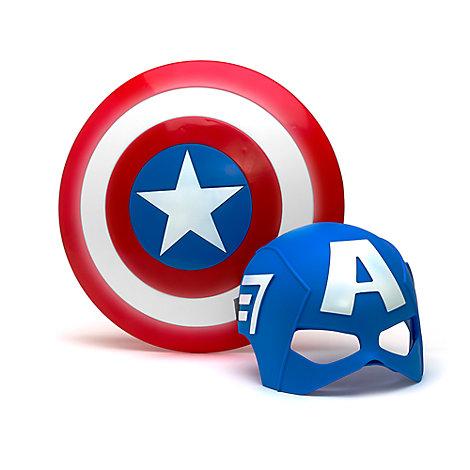 Captain America set med mask och sköld