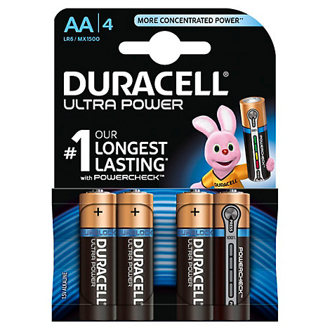 Duracell Ultra Power Alkaline AA Batteries, Pack of 4