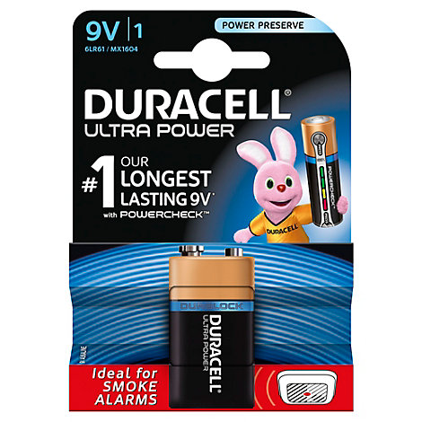 Duracell Ultra Power Alkaline 9V Battery, Pack of 1