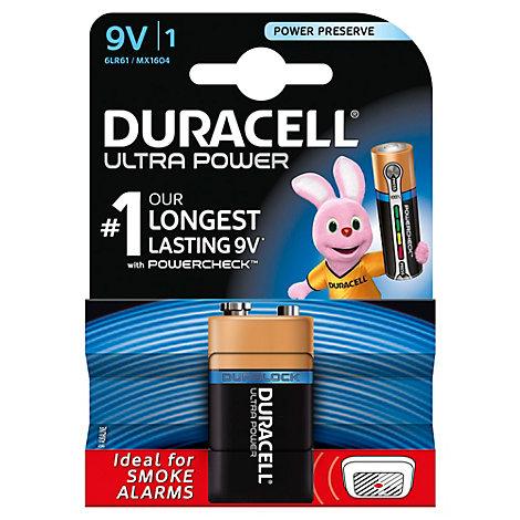 Batterie alcaline 9V Duracell Ultra Power, confezione da 1