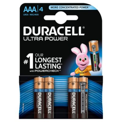 Duracell Ultra Power, alkaliska AAA-batterier, 4-pack
