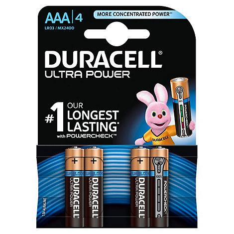 Pilas alcalinas Duracell Ultra Power, tamaño AAA, paquete de 4