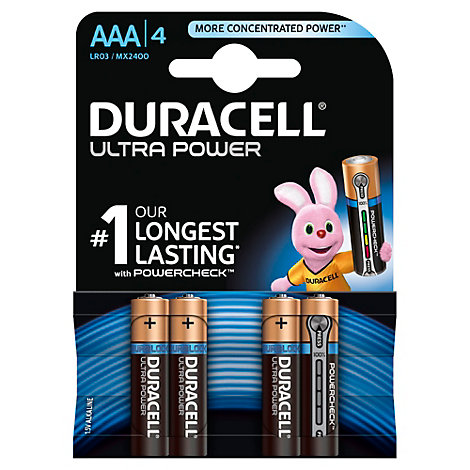 Batterie alcaline AAA Duracell Ultra Power, confezione da 4