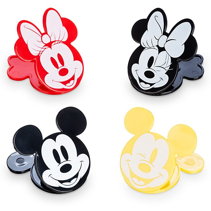 Disney Store Lot de 4 pinces fraîcheur Mickey et Minnie, collection Disney Eats