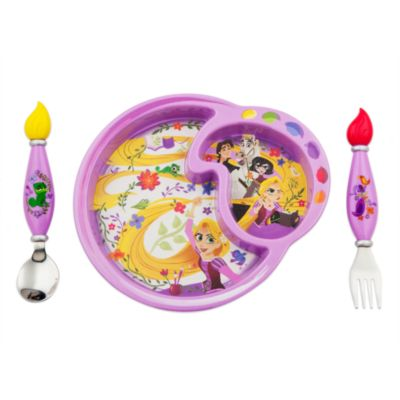 Piatto in melamina e set di posate Rapunzel: La Serie