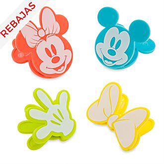 Pinzas para bolsas de conservas Mickey y Minnie, Disney Eats, Disney Store (set de 4unidades)