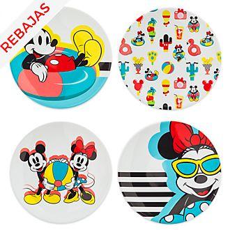 Platos Mickey y Minnie, Disney Eats, Disney Store (set de 4unidades)
