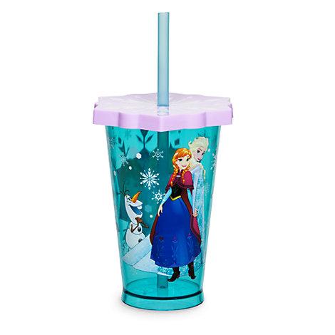 Vaso con pajita copos de nieve Frozen