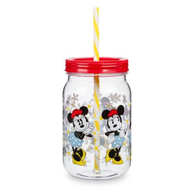 Mickey and Minnie Jar Tumbler With Straw