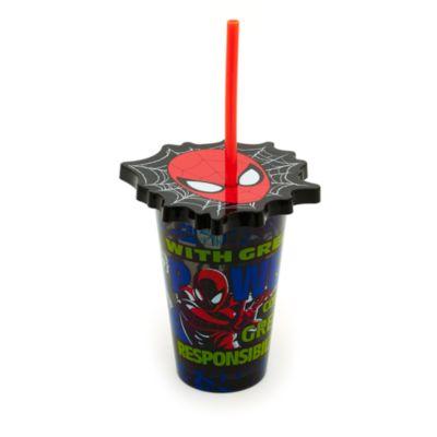 Spiderman dricksglas med sugrör
