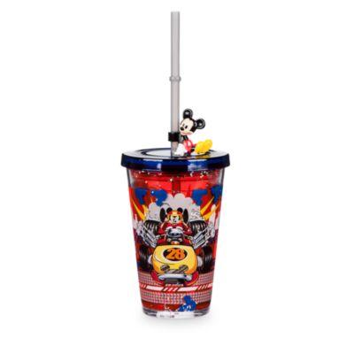 Mickey og Racerholdet glas med vandeffekt og sugerør