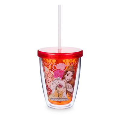Belle Tumbler with Colour Changing Straw, Beauty and The Beast