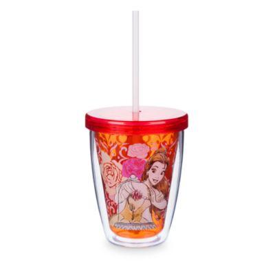 Bicchiere grande con cannuccia cangiante Belle, La bella e la bestia