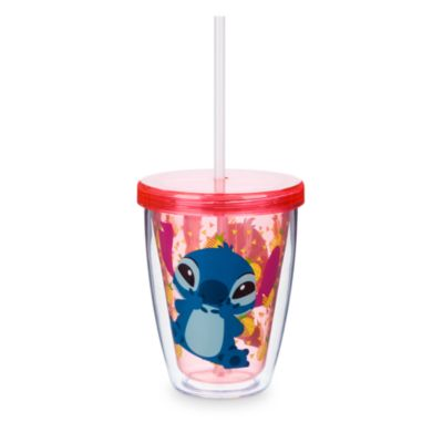Stitch dricksglas med sugrör som ändrar färg