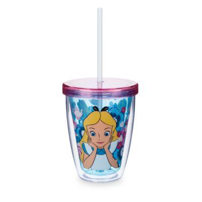 Bicchiere grande con cannuccia cangiante Alice nel Paese delle Meraviglie