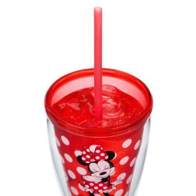 Bicchiere grande con cannuccia cangiante Minni