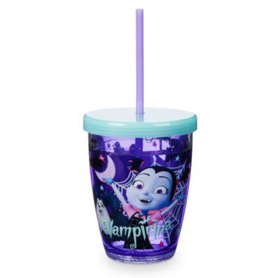 Bicchiere fosforescente con cannuccia Vampirina