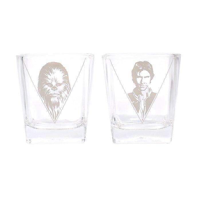 Set 2 vasos de cristal Han Solo y Chewbacca, Star Wars