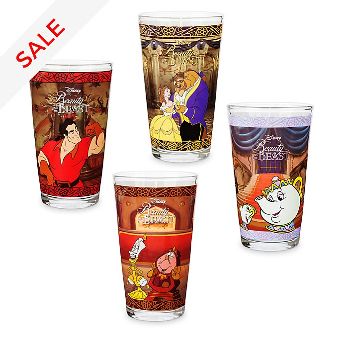 Disney Store Oh My Disney Beauty and the Beast Glasses, Set of 4