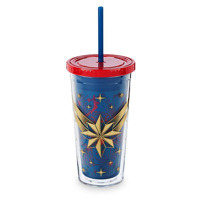 Disney Store Captain Marvel Straw Tumbler