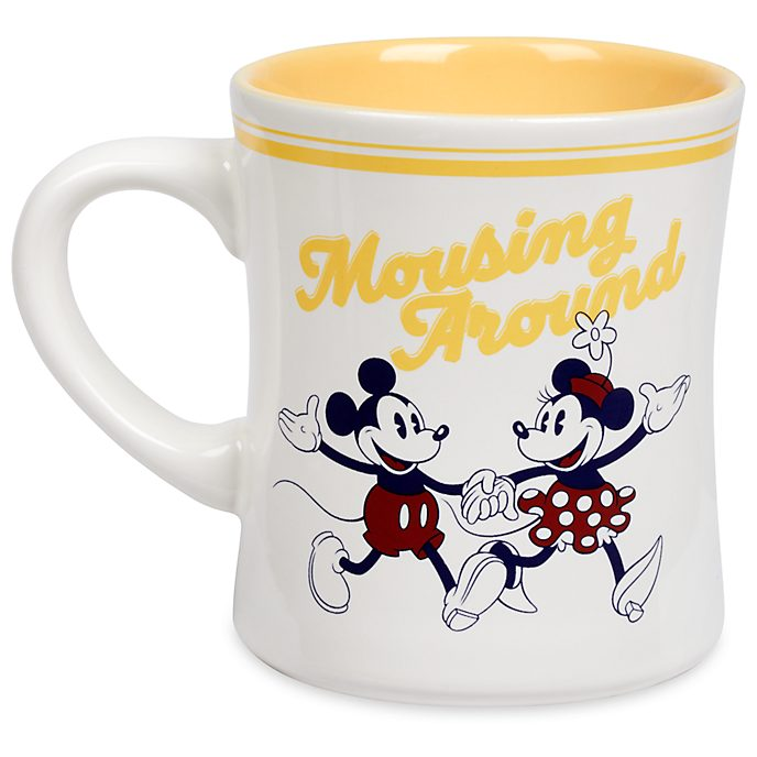 Disney Store Mickey and Minnie Mouse Yellow Fall Fun Mug