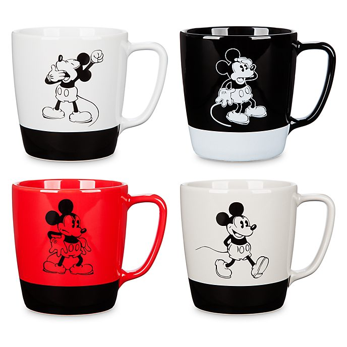 Walt Disney Studios Mickey Mouse Mugs, Set of 4