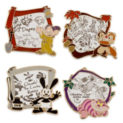 Disney Animation pins, sæt med 4 stk.