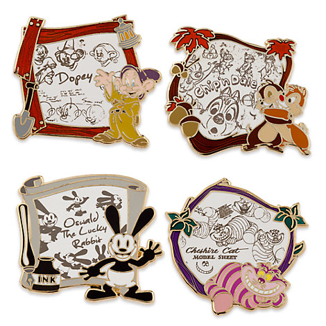 Disney Animation Pins, Set of 4