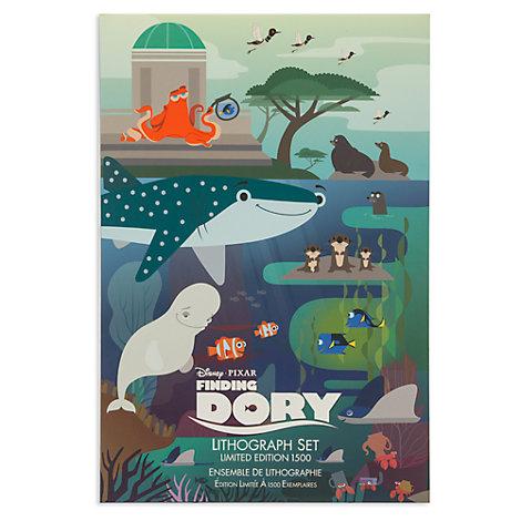 Ensemble de cinq lithographies Le Monde de Dory en édition limitée