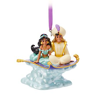 Disney Store Aladdin and Princess Jasmine Singing Hanging Ornament