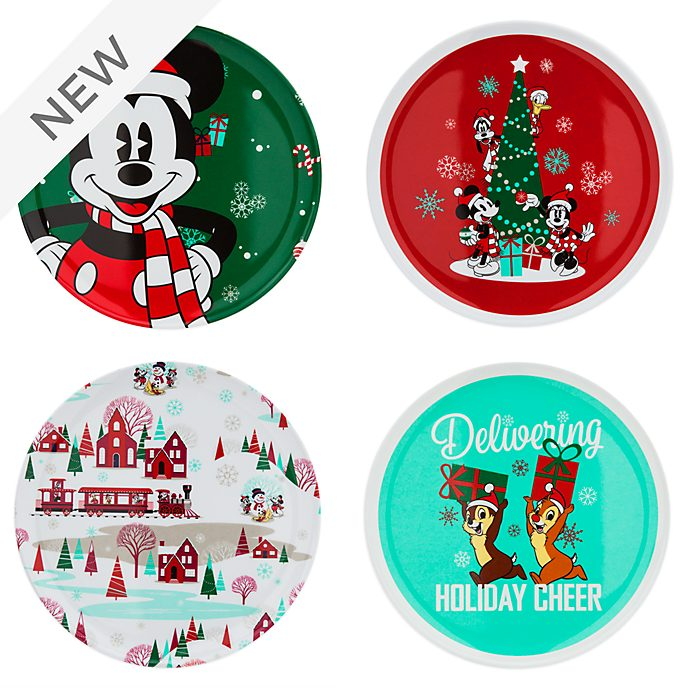 Disney Store Mickey and Friends Holiday Cheer Plates