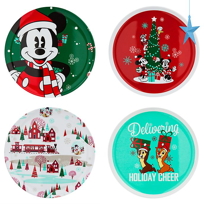 Disney Store Assiettes Mickey et ses amis Holiday Cheer