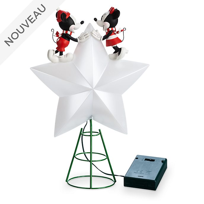Disney Store Cime d'arbre de Noël Mickey et Minnie Holiday Cheer
