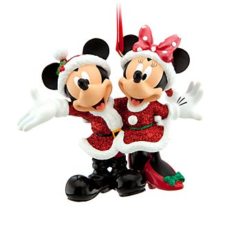 Disney Store Mickey and Minnie Festive Hanging Ornament