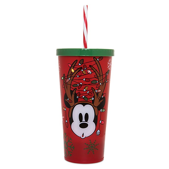 Disney Store Gobelet lumineux Mickey avec paille, collection HolidayCheer