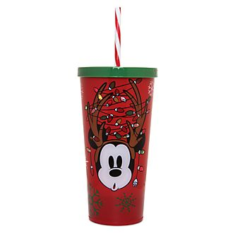 Disney Store Gobelet lumineux Mickey avec paille, collection Holiday Cheer