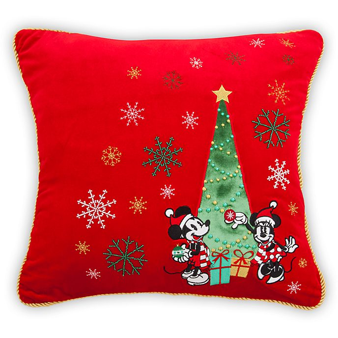 Disney Store Mickey and Minnie Holiday Cheer Cushion