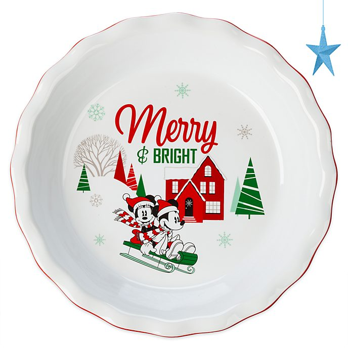 Disney Store Mickey and Minnie Holiday Cheer Pie Dish
