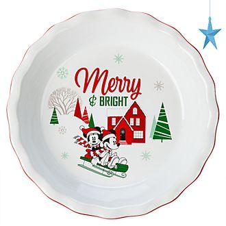 Disney Store Mickey and Minnie Holiday Cheer Pie Dish