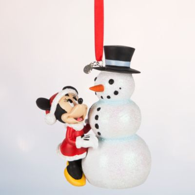 Minnie Mouse With Snowman Christmas Decoration