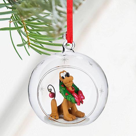 Decorazione natalizia palla di vetro aperta con Pluto
