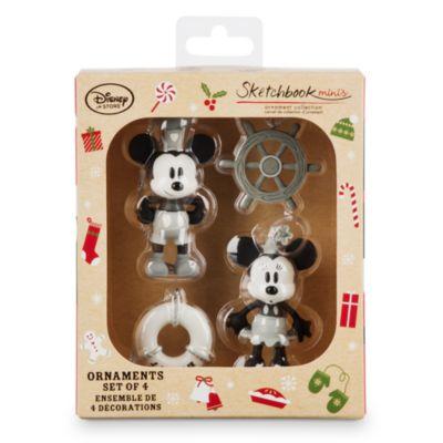 Mickey og Minnie Mouse julepynt fra filmen Steamboat Willie, sæt med 4 stk.