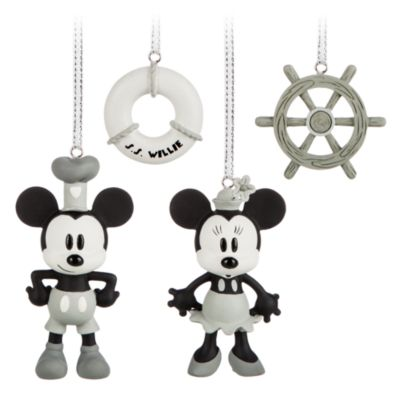 Mickey and Minnie Mouse Steamboat Willie Christmas Decorations, Set of 4