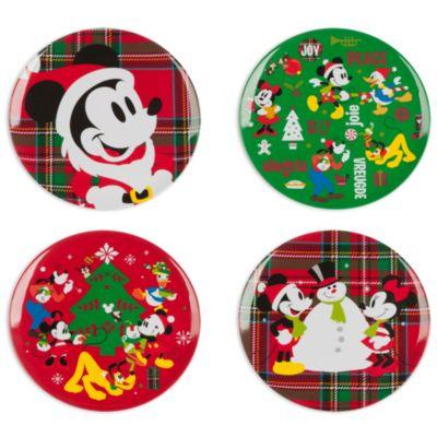 Platos melamina Navidad Mickey Mouse y amigos, set de 4