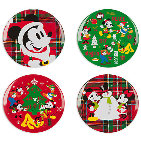 Mickey Mouse And Friends Melamine Christmas Plates, Set Of 4