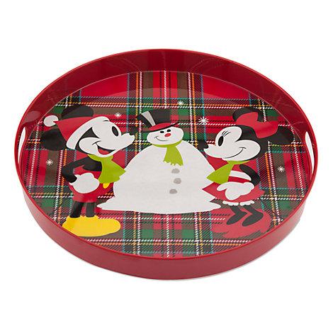 Micky und Minnie Maus - Weihnachtliches Tablett aus Melamin